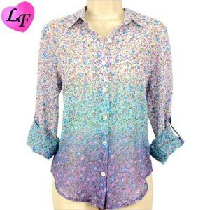 Floral Ombre Roll Sleeve Semi Sheer Top Size S
